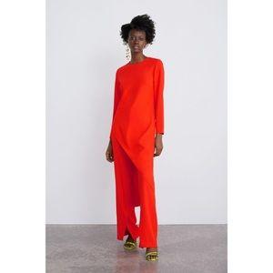 NWT Zara Long Asymmetrical Top Size Small Orange